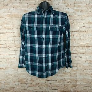 Faded Glory 100% cotton Flannel Green White S